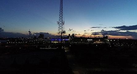 Downtown Jacksonville, FL Night Stadium Drone Stock 4K Video
