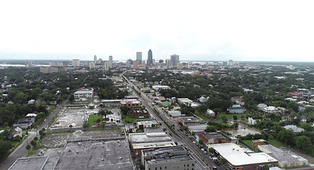 Jacksonville Skyline from Out East - Drone Stock 4K Video