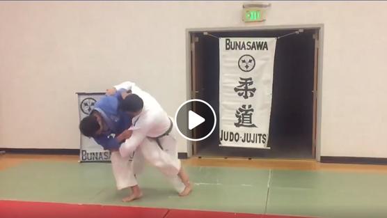 Sensei Bunasawa demonstrates O-Guruma (big wheel throw)