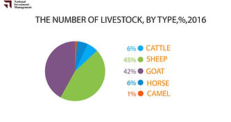 The number of livestock, by type,%,2016