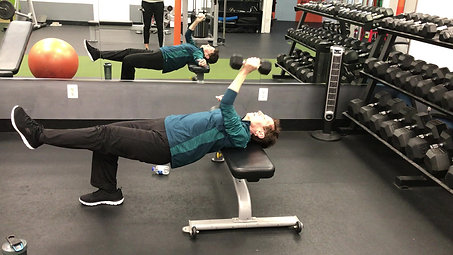 Contralateral SA Dumbbell Bench Press w/ SL Hip Bridge Hold