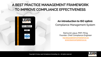 An introduction to ISO 19600: Compliance Management System