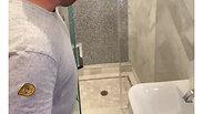 Frameless Swing shower door. East Long Island, NY
