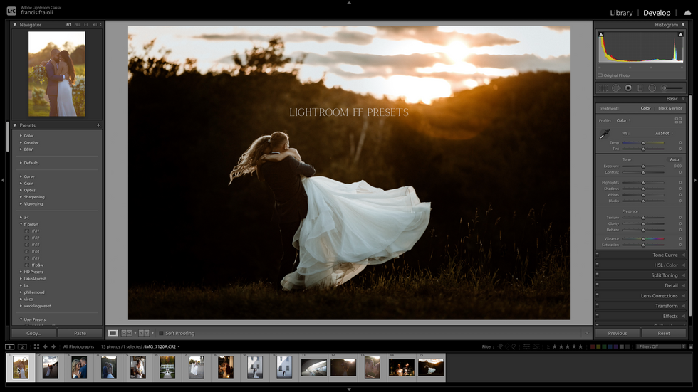 How to edit the ff presets on lightroom