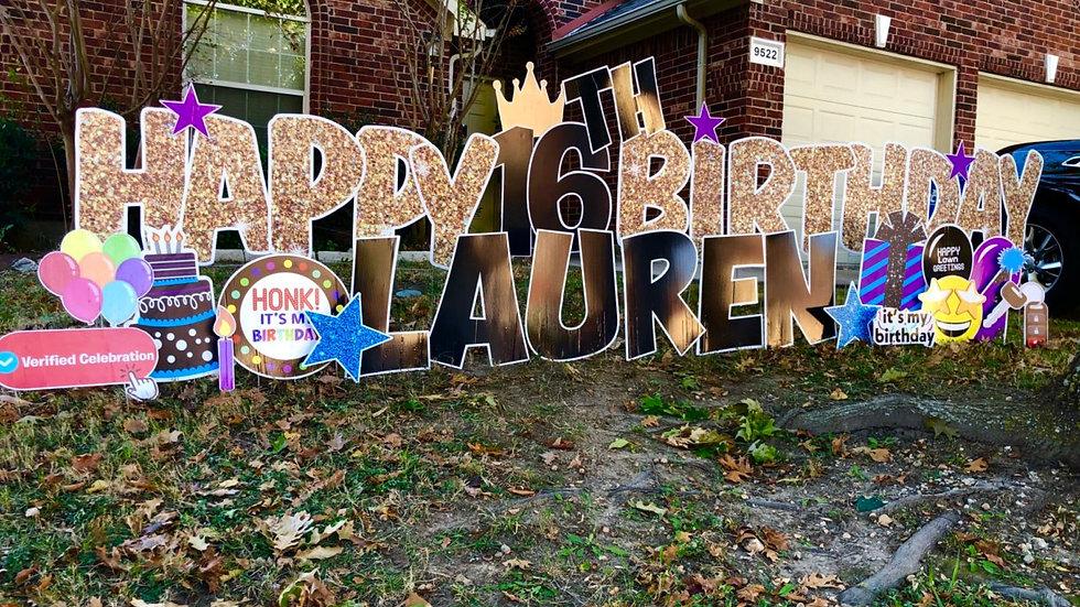 Happy Birthday Gold Sparkle Greeting Yard Sign by Happy Lawn Greetings Rowlett TX
