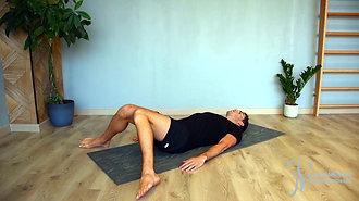 52 - Étirement des rotateurs profonds de hanche (sur le dos)