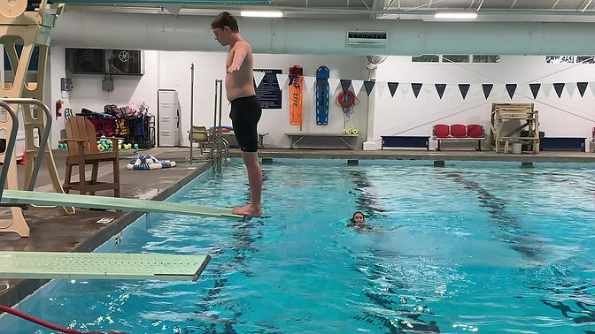 Jacob working on his new inward dive