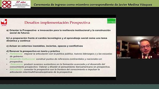 Ceremonia de ingreso como miembro correspondiente a la ACCE de Javier Medina Vásquez