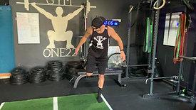 Rear foot elevated split squat jumps