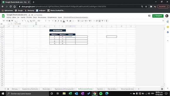 Google Sheets - Referencia de celdas R