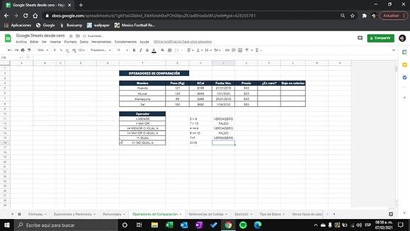 Google Sheets - Comparadores de comparacion r
