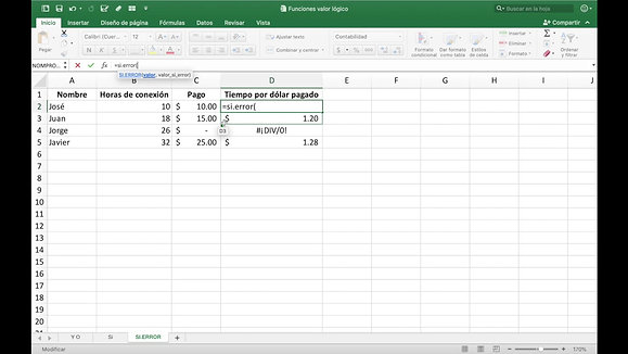Microsoft Excel - SI.ERROR