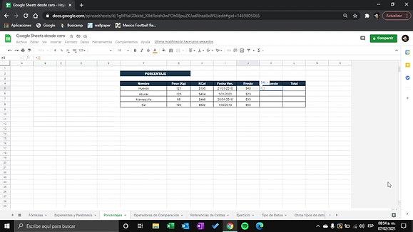 Google Sheets - Porcentajes R