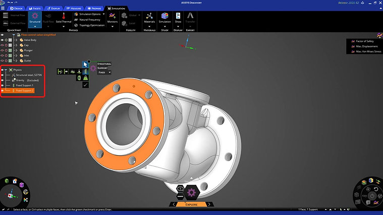 Ansys Discovery - Setting up a Structural Simulation on a flow control valve