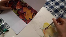 I colori la foglia e l'acqua