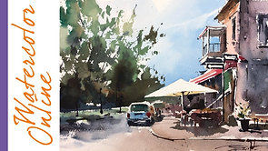 #104 One Does Not Simply Walk Past An Umbrella (Watercolor Cityscape Tutorial)