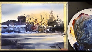 #79 My Hometown: Laval After Sunset (Watercolor Landscape Tutorial)