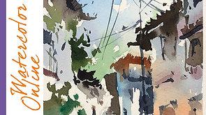 #110 Sunny Street in Mexico (Watercolor Cityscape Tutorial)