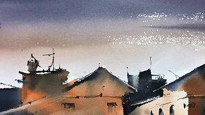 #59 Night in Caudete (Watercolor Cityscape Tutorial)