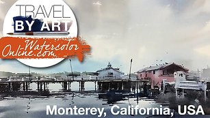#137 Travel By Art, Ep. 12: Pier in Monterey, California, USA (Watercolor Landscape Tutorial)