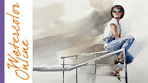 #121 Sitting on a Handrail - Dynamic Sketching (Watercolor Human Sketching Tutorial)