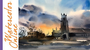 #101 Cobalt Blue and Mixing Grey Color (Watercolor Landscape Tutorial)