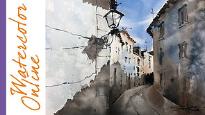 #103 White Walls? Paint it! (Watercolor Cityscape Tutorial)
