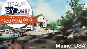 #136 Travel By Art, Ep. 11: Cinematic Barn in Maine, USA (Watercolor Landscape Tutorial)