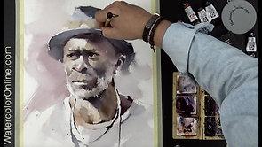 #97 Portrait in Perylene Violet (Watercolor Portrait Tutorial)