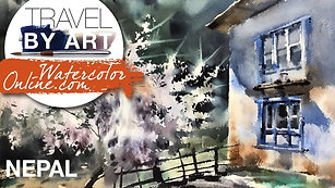 #138 Travel By Art, Ep. 13: Magnificent Tree in Nepal (Watercolor Landscape Tutorial)