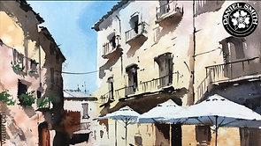 Sunny Street With Umbrellas