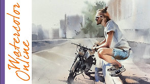 May 17, 2021, Monday Livestream: A Man Waiting for Someone with a Bike (Watercolor Figure Tutorial)