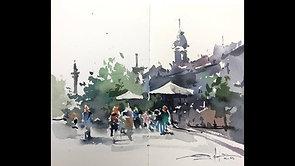 #81 My Hometown: Painting Place Jacques-Cartier, Montreal (Watercolor Cityscape Tutorial)