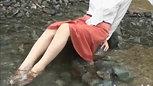 お水遊び&癒し⑤ 私服プリーツスカート