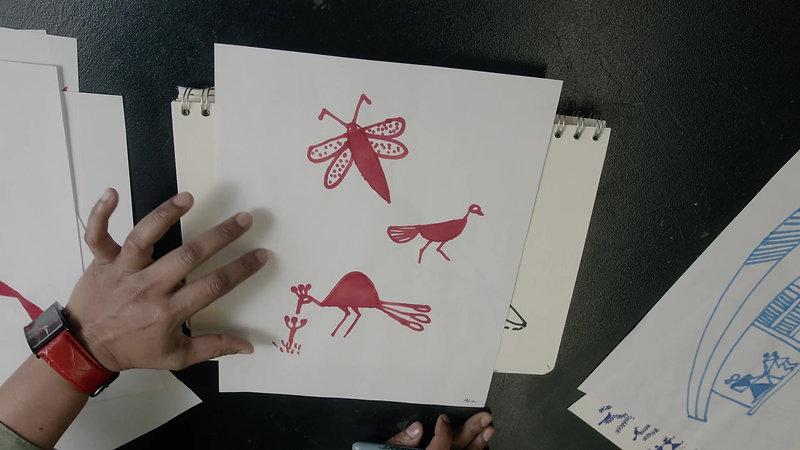 Sharmishta Kar Drawing Warli Art