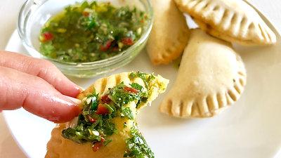 Spinach + Mushroom Empanadas w/ Chimichurri Sauce