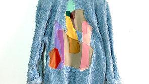 Eyelash String Embellished Chambray Blazer