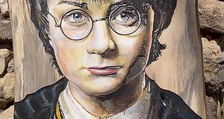 Harry Potter gravé et peint sur bois