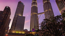 Time lapse during sunset at the Petronas Tower