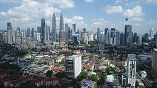 Aerial view over the skyline of Kuala Lumpur, Malaysia