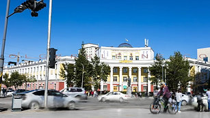 Time lapse with a view of the entrance to the national university of Mongolia