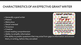 Characteristics of a Grant Writer