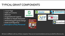 Typical Grant Components: Key Personnel