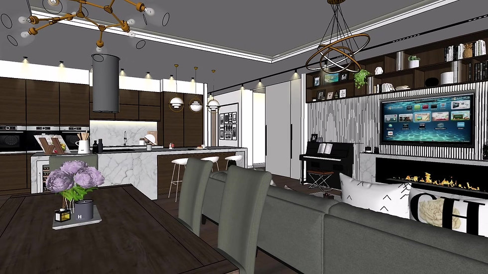 Interior Design Contemporary apartment Open plan kitchen, living room