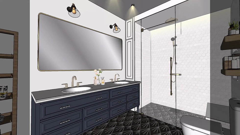Fort Lauderdale interior design Master bedroom, master bathroom -  Bedroom suite option 3 e-design