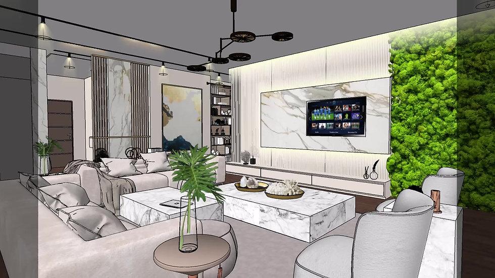 Interior Design Living room, Kitchen 3D Walkthrough