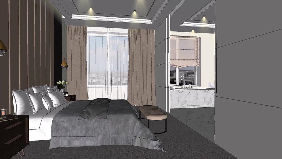 Interior Design Contemporary apartment Master Bedroom, en-suite bathroom, Walk-in-closet