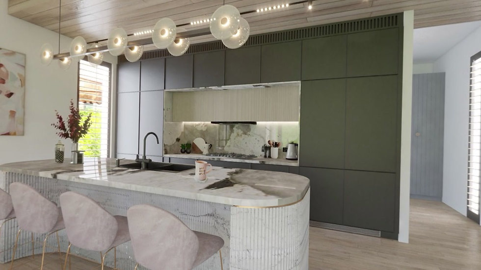 Contemporary kitchen with fluted island