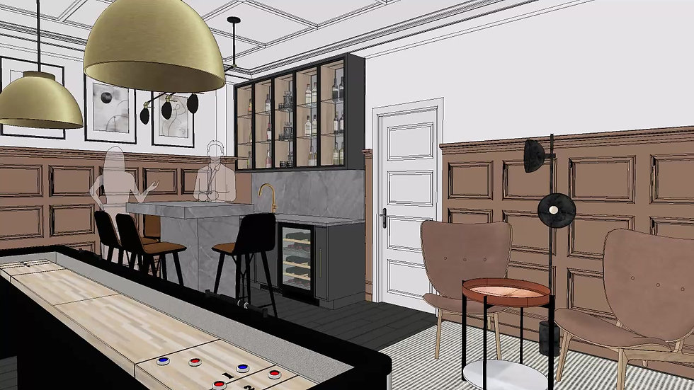 Rec room with Wet bar and pool table