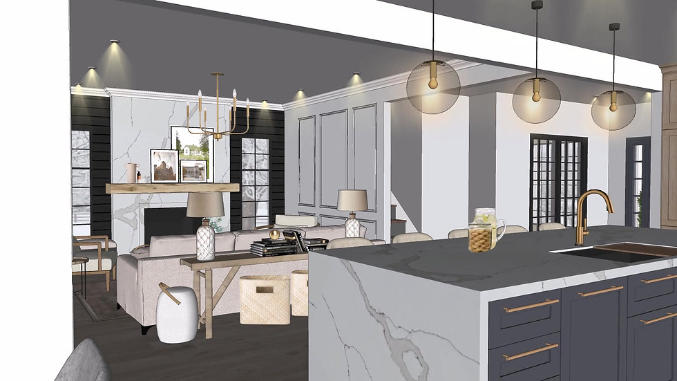 Modern farmhouse kitchen and living room